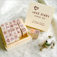 Wholesale Love Diary Stamp Set New Fashion Box Children Cartoon Toys Cute Stamp DIY Decoration