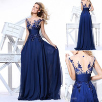 Prom Dresses appliques - In Stock Blue Embroidered Prom Dress Sheer Crew Cap Sleeves Long Chiffon Evening Party Dresses With Appliques Under Formal Dress