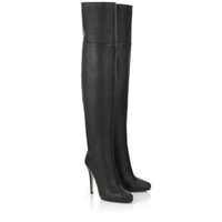 Wholesale Woman Long Boots Black Cowhide Leather Roman Style Over The Knee Boots Stitching Side Zipper Round Head Winter boots Stiletto Heel cm