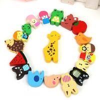Wholesale 19pcs Cartoon Animal Wooden Sticker Refrigerator Fridge Magnet Kid Educational Toy Novelty Cute Fun Colourful Childrens Gift