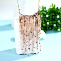 beaded curtain black - Factory Curtain tassel hanging pendant long paragraph sweater chain crystal jewelry in Europe and America pendant necklace Korean