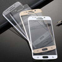 Wholesale S6 edge Tempered Glass Gold White Black Color Full Cover LCD Screen Protector Film For Samsung Galaxy S6 Curved Glass Screen Protector