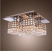Wholesale Modern Flush Mount Stainless Steel Crystal Chandeliers Ceiling Lamp Pendant Light Lamps Gein Pattern Lights
