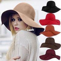 big felt hats - Soft Women Vintage Retro Wide Brim Wool Felt Bowler Fedora Hat Floppy Cloche Big Brim Chapeu Hat