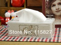 box facial tissue - New fashion Flower design Facial Paper Case Napkin Holder Metal Tissue Box Square Shape metal case Hot Selling