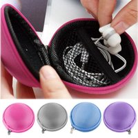 Wholesale 2015 New Portable Mini Round Hard Storage Bag for Earphone Headphone SD TF Cards Cable Cord Wire Color Send Randomly