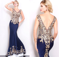 Wholesale Custom Shail K Couture Evening Dress Long Mermaid V Neck Embroidery Beads Backless Red Carpet Prom Gowns Special Occasion Dresses for Women
