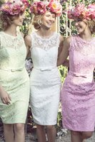 wholesale lace ribbon - High Quality Short Sheath Bridesmaid Dress with Ribbon Bowknot Sheer Neck Lace Covered Greek Romantic Wedding Party Dress