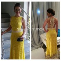 Wholesale Sexy Sleeveless Floor Length Sheer Back Yellow Lace Pearls Long Formal Party Evening Dresses Prom Dress Vestido De Festa