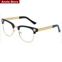 al por mayor lentes del marco de oro al por mayor-Al por mayor-NUEVO blackgold mens de la marca gafas semi Sin montura de lente clara la mitad estructura metálica UV gafas de descuento óptica con la caja
