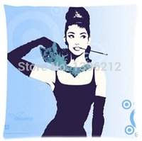 Wholesale 2015 New Audrey Hepburn And Cat Art Pillow Cases x inch Excellent Quality Soft Pillowcase