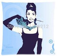 art pillows - 2015 New Audrey Hepburn And Cat Art Pillow Cases x inch Excellent Quality Soft Pillowcase