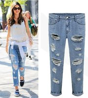 Cheap European Street Style Holes Vintage Denim Jeans Pants For Women Mid Waist Washed High Quality ripped woman clothed Trousers