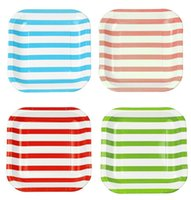 beautiful disposable plates - 120pcs Stripe Paper Dishes plates Wedding Birthday Christmas Party Beautiful Decoration inch Cake Plate