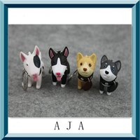 Wholesale HOT Sale Pc Silicone color Bull Terrier key chain Promotional Couple Souvenir Animal Dog Keychains