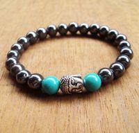 beadwork designs - SN0084 mm Turquoise stone Men Beadwork Buddha Bead bracelets hematite stone bracelet fashion design jewelry