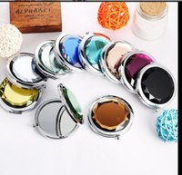 Wholesale 100pcs folding makeup mirror cm compact mirror with crystal metal pocket mirror for wedding gift free for DHL