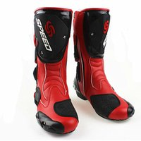 motocross boot - 2014 Hotsale PRO BIKER SPEED Tall Motorcycle Boots Bike Cycling Racing Motorcycle Footwear Leather Motocross Boots Motorbike Racing