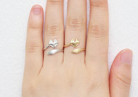Wholesale 10PCS R023 Gold Silver Cute Fox Adjustable Rings Simple d Animal Fox Face Ring Fox Tail Ring Tiny Twisted Fox Rings for Women