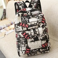backpack new york - NXL7186 Han edition graffiti backpack The streets of New York fashion bag YNC personality printed canvas backpack men and women
