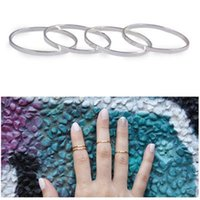Cheap Free Shipping 1 Set of 5pcs Punk Rock Gold Silver Above Knuckle Midi Stackable Thin Rings Hot A2516