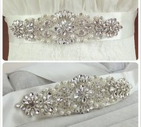Wholesale 2016 High Quality Bridal Sashes Crystal Beads Real Image White In Stock Bridal Belts For Wedding Evening Party Hot Sale