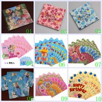 Wholesale 2015 color mickey spiderman pooh froze sofia princess dora car Birthday Festive Tissue paper handkerchief party supplies TOPB2895 set