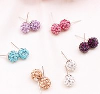 Wholesale New Arrival Genuine Crystal Disco Ball Lady Silver Shamballa Stud Earring various colors available Crystal Earing
