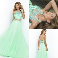 Wholesale 2015 Cheap Prom Dresses Two Pieces Crew Neck Criss cross Straps Back Beaded Top Chiffon Skirt Chiffon Formal Party Dresses Graduation Dress