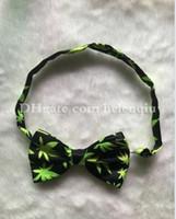 Wholesale Fashion New Green Maple Leaves Mens Bowties men s ties men s bow ties men bow tie Bowtie Star Check Polka cmX6cm