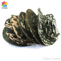 Wholesale 18 Colors New Boonie Caps Hat Fishing Hiking Snap Brim Camo Ripstop Army Combat Bucket Bush Jungle Sun Man Women Hat