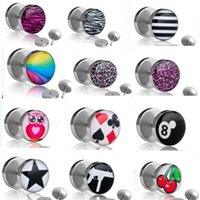 Wholesale mix different logo stainless steel body jewlery Fake Ear Plugs Illusion Ear Tapers cheater Plug Ear Studs