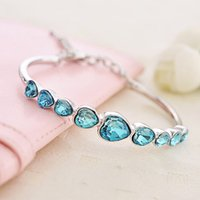 Wholesale Nine Heart Artificial Crystal Wrist Chains Rhinestone Chitta Bangles Valentine Party Bracelet JBS117