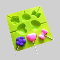Wholesale 8 Silicone Lollipop Mold Lollypop Lollygags Chocolate Mould DIY Ice Tray Ice Mold Ice Cube Pudding Mold Love Bowtie Flower Kid