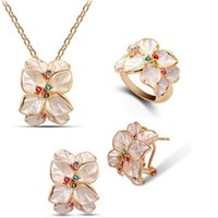 austrian fashion designers - Rings Necklace and Earrings Sets Vintage Austrian Crystal Flowers Women Designer Jewelry Fashion Jewelry Online G071