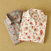 Cheap ca2015 spring Fashion women work wear vintage floral print cotton blouse long sleeve Shirts casual blusas tops Dudalina 01XQ2505