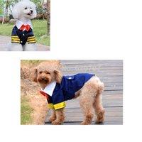 Ropa de fiesta hermoso por un traje azul marino de algodón Perros Pet Bowtie Ropa Suministros Primavera Otoño mascotas