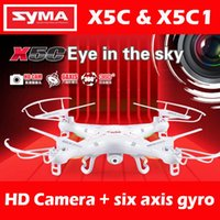 Wholesale RC Helicopter Syma X5C Quadcopter G Axis UFO Mega Pixel Drone With Camera and Degrees Helicopters Toy LED Quadcopter DHL FJ