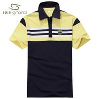 Cheap Men polo Shirt Chest-Striped Patchwork Short Sleeve Shirts for Male MTP222