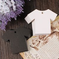 Wholesale 2 inch Blank Kraft Paper T shirt Lage Price Hang Tag Clothes Shaped DIY Gift Wish Greeting Card Paper Tag