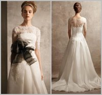 Wholesale Elie Saab Wedding Dresses Half Long Sleeve Sheer Neck Black Organza Sash Woman Winter A Line Sweep Train Wedding Dresses Bridal GownsXR