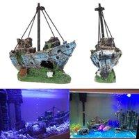 Wholesale Aquarium Ornament Wreck Sailing Boat Sunk Ship Destroyer Fish Tank Cave Decor fake ship hot fashion aquarium furnishing wreck