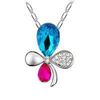 bamboo orchid - Full Swarovski elements crystal necklace colors orchids Swarovski elements crystal pendant necklace crystal glass bamboo chain
