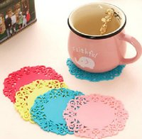 Wholesale Creative Home sweet Cup Mats translucent hollow lace coasters silicone mat insulation coasters Silicone Bowl Pads Flower Cup Pad Candy Color