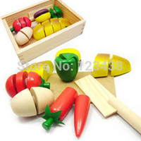 wooden crates - Educational Toys Wooden Box Artificial Fruit Bread Food Qieqie Look Slice and Cutting Crate Play House