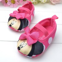 Wholesale Baby Girl Shoes Baby First Walker Shoes Anti Slip Pink Baby Shoes Toddler Girls Minnie Mouse Pink Polka Dots and Bow Infant Flats Baby Shoes