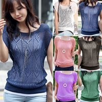 ladies fashion clothing - 2015 Hot Selling Fashion Womens Ladies Clothing Dress Loose Hollow out blouse Short Batwing Sleeve Knit Jumper Tops AX157
