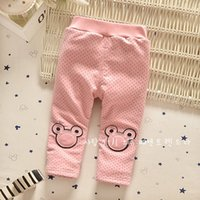 Wholesale Children Patterned Cotton Tights Leggings - Fashion Hot Children Leggings For 2015 Autumn Full Dots Cute Mickey Head Pattern Kids Pants Pure Cotton Furry Linig Tights For Girls CR385