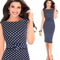 Wholesale 2015 Globel Summer Womens Polka Dot Belt Slim Bodycon Work Party Cocktail Pencil Career Dress Ladies Office Dress OXL13190