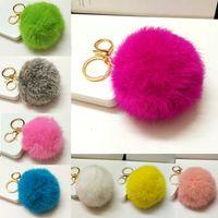 Wholesale Gift Cute Fox Key Chain Big Size Genuine Rabbit Fur Ball Plush Keychain Car Key Chain Ring Pendant For Bag Charm